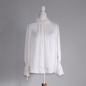 Vince Camuto Tie Flare Cuff Blouse White XL NWT